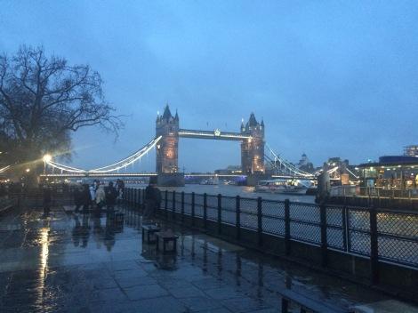 The beautiful tower bridge in London on a rainy night