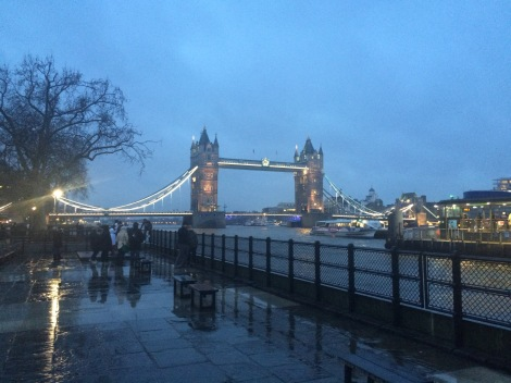 The beautiful tower bridge in London on a rainy night